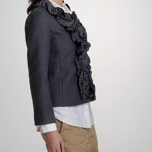 J Crew Wool Pleated Chimera Silk Gray Jacket Sz 10